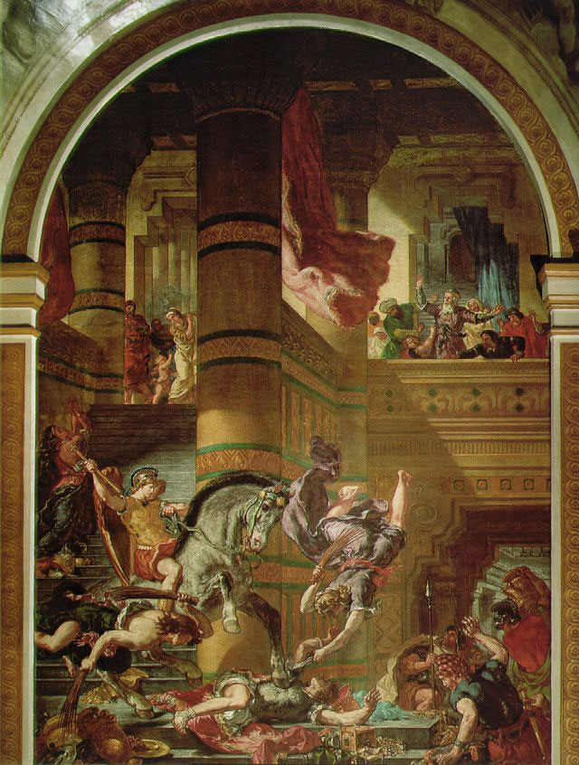 Heliodorus being chased from the temple by the Cheval de Dieu